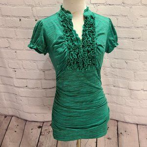 Maurices V neck Ruffle fitted short sleeve blouse